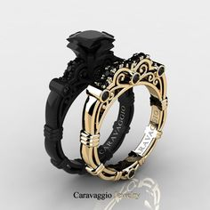 Caravaggio 14K Black and Yellow Gold 1.25 Ct Princess Black Diamond Engagement Ring Wedding Band Set R623PS-14KBYGBD | Caravaggio Jewelry