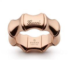 Rose gold~so popular now...  Gucci Bamboo 18-Karat Rose Gold Spring Ring