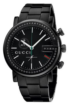 I need this watch Gucci 'G Chrono' Black Diamond Bracelet Watch, 44mm