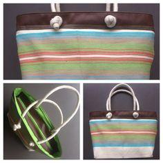 Descripción: bolso cartera Color: café, azul, verde  Material: algodón y cuero sintético  Medida: 27x 42cm