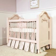 The Cape Cod Roses Crib is truly feminine and charming. Hand carved appliques adorn this beautiful crib that sits upon delicate turned legs. This crib is constructed from select hardwoods, independently finished and then hand rubbed giving it a unique sense of craftsmanship.