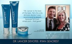 """Lancer is the best of the best. He's the only skincare doctor I ever recommend to people because he's just, simply put."""" (Ryan Seacrest pictured with Louise Deschamps - celebrity aesthetician at Lancer Dermatology. Hard Working Man, Ryan Seacrest, Skincare Blog, American Idol, Skin Care Regimen, In Hollywood, Celebrity, Good Things, People"""