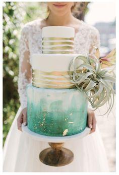 Boho watercolor and gold wedding cake