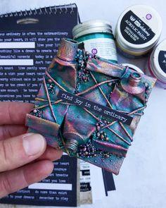 tiny canvas painted with Finnabair artalchemy paints Mixed Media Artwork, Mixed Media Painting, Mixed Media Collage, Mixed Media Canvas, Altered Canvas, Altered Art, Mix Media, Craft Font, Mini Canvas Art
