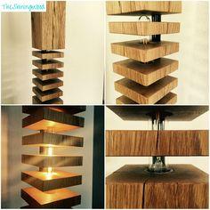 Moderne Massivholz Stehlampe - Design No2-F-LB150 mit LED Filament light Vollholz Eichenbalken In den 5 Holzscheiben versteckt sich eine 360 Grad leuchtende LED Filament Leuchte mit warm-weißem Licht *********** + Bauart: Stehlampe, Stehleuchte + Holzart: Eiche Natur + Höhe: 150 cm
