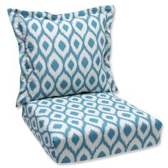 Pillow Perfect Deep Seating Cushion and Back Pillow with Shivali Turquoise Bella-Dura Fabric
