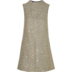 Sequin-embellished metallic tweed mini dress (€1.225) ❤ liked on Polyvore featuring dresses, saint laurent, gold, brown dress, sequin cocktail dresses, metallic dress, yves saint laurent dresses and yves saint laurent
