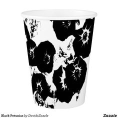 Black Petunias Paper Cup  Available on more products, type in the name of this design in the search bar on my products page to view them all!  #petunia #floral #flower #black #white #pattern #print #all #over #abstract #plant #nature #earth #life #style #lifestyle #chic #modern #contemporary #home #decor #accent #decorate #disposable #paper #catering #events #cup