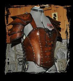 My armor is a light leather breastplate because it's useful for high mobility battles and it's what I usually wear