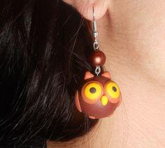 Fimo Owl - earring by Mineko-chan.deviantart.com on @deviantART