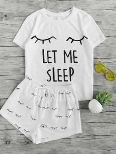 Shop Closed Eyes Print Tee And Shorts Pajama Set online. SheIn offers Closed Eyes Print Tee And Shorts Pajama Set & more to fit your fashionable needs. Cute Pajama Sets, Cute Pjs, Cute Pajamas, Pj Sets, Summer Pajamas, Pajama Outfits, Pajama Shorts, Mode Kpop, Cute Sleepwear