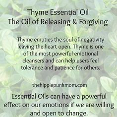 Thyme Essential Oil, The Oil of Releasing and Forgiving ✯ Visit lifespiritssocietyofmagick.com for love spells, wealth spells, healing spells, and LOA info. More