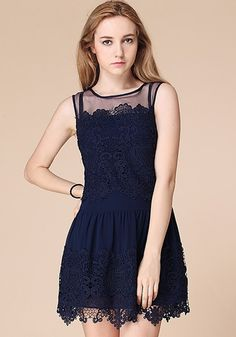Navy Blue Patchwork Grenadine Embroidery Lace Dress