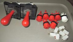 2 RED 8-WAY JOYSTICK, 6 RED & 1 WHITE MICROSWITCH BUTTON LOT FROM DIE HARD, GUC #UNBRANDED
