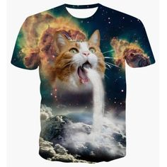 Just US$10.64 + free shipping, buy Colormix Round Neck 3D Cat Abstract Print Short Sleeve T-Shirt For Men online shopping at GearBest.com.