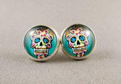 Stud Earrings - Blue Sugar Skull Glass Cabochon by PegandCharlie on Etsy https://www.etsy.com/listing/129981513/stud-earrings-blue-sugar-skull-glass