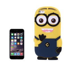 [USD2.18] [EUR1.99] [GBP1.55] 3D Despicable Me II Minions Style Silicone Case for iPhone 6 & 6S(Dark Blue)