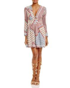 Wayf Pleated Patchwork Print Dress