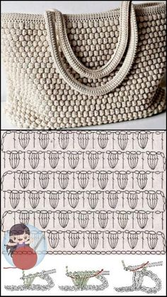 Receba lindas receitas de bolsas, knitting for babies, Crochet Tote, Crochet Handbags, Tunisian Crochet, Crochet Purses, Crochet Chart, Learn To Crochet, Crochet Stitches Patterns, Crochet Patterns For Beginners, Knitting Stitches