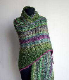NEW Spring Garden Hand Knit Prayer/Meditation Shawl, Greens, Lavender, Raspberry Trim, w Fringe and Collar, FREE SHIPPING