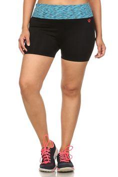 Plus Size Active Wear Shorts, Blue