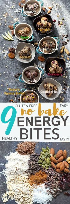 No Bake Energy Bites 9 Different Ways - the perfect easy and healthy no bake and super tasty snacks for on the go or after a workout! Best of all, most of these delicious recipes have no refined sugar and are super easy to customize and make ahead for packing into school or work lunchboxes. The flavors include: 5 Ingredient, Almond Joy, Apple Cinnamon, Apricot, Cranberry, Mocha, Reese's (or Monster Cookie) Peanut Butter, Oatmeal Raisin and Pumpkin. All with gluten free and nut free options.