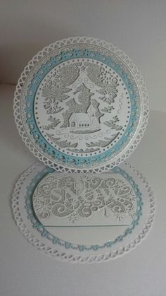 Crafty cardz, A circular easel card created with grand decorative circles one… Die Cut Christmas Cards, Christmas Greeting Cards, Christmas Greetings, Acetate Cards, Tattered Lace Cards, Christmas Snow Globes, Spellbinders Cards, Step Cards, Christmas Stocking Stuffers