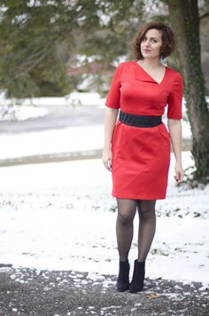 Mandy of The Curvy Blogger looking red hot in LT    London Times onto LT Real Style