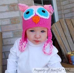 BonEful RTS NEW Boutique Crochet Soft Knit Baby Sm GIRL Gift OWL PINK WINTER HAT #Handmade