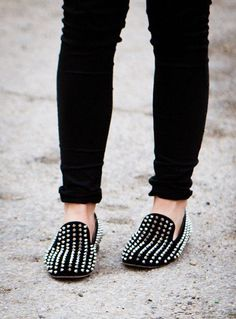 Studded Christian Laboutin loafers are always a nice touch to edge up a casual look.