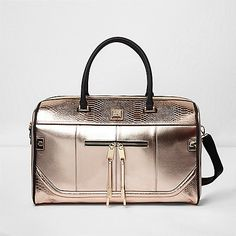 2c25b10a0e77d River Island Rose gold metallic four wheel suitcase ( 170) ❤ liked ...