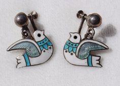 MARGOT De TAXCO Mexican Sterling Silver White Blue Enamel DOVE Bird Earrings #MARGOTDETAXCO