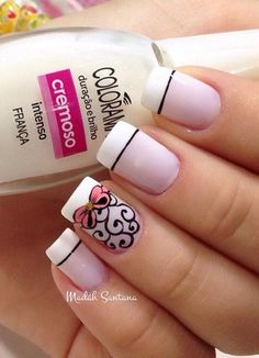24 French Nail Art Designs Ideas for 2020 Love Nails, How To Do Nails, Pretty Nails, French Nail Designs, Nail Art Designs, Nails Design, French Nails, French Polish, Nail Deco