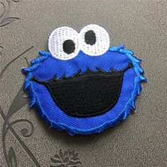 American Cookie Monster and Elmo Classical cartoon Blue iron on patches iron on appliques Embroidery patch Cartoon patch