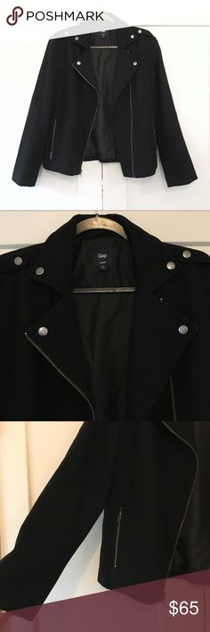 GAP Wool Blend Moto Coat Super chic black wool blend moto style GAP coat. Has pockets and zipper closure. Has been gently worn but is in great condition and has plenty of life left! Love this coat and wish it was my size! I modeled it as a size small. No trades GAP Jackets & Coats