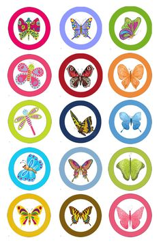Butterflies 02 Digital Bottle Cap Images For by KaylenDesigns, $1.50