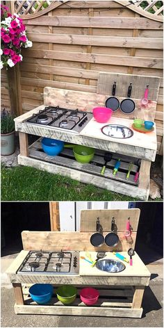 Another idea for kid's mud kitchen out of pallets is shown here, there is a sink and the store fitted in it. The pallets are not painted to create this idea, but they can be painted if required or your kids want it painted to look funky.