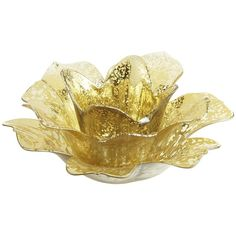 Pier One Mercury Flower Tealight Holder - Gold ($9.95) ❤ liked on Polyvore
