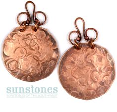 Handmade Rustic Copper Earring Components -  2 pieces EC407 by SunStones on Etsy