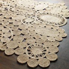 DMM Studio, LLC | www.dmm-studio.com  heenalu jute rug 6'x9' Fiber studies. Handmade by artisans in India, jute rug freeforms a fiber art masterpiece. Neutral palette plays up natural texture, intricately hand-braided to crochet-like effect in a spontaneous circular design.