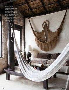 Rustic Living Room   An Indoor Hammock In The Lobby Of Coqui Coqui, Tulum,  Mexico.
