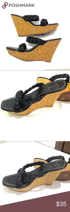 Jessica Simpson Cork Wedge Heel Braided leather straps  Leather sole  Cork wrapped heel  Color: Black and Tan  100% Leather   Size: 11 Heel height: 5in   Condition: Sole barely used. Some scratching due to storage. Worn Twice.   No Pets  Non-Smoking home  Every item steamed throughly before shipped! Jessica Simpson Shoes Wedges
