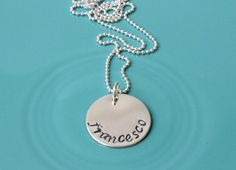 Hand stamped name necklace sterling silver by SilverStamped