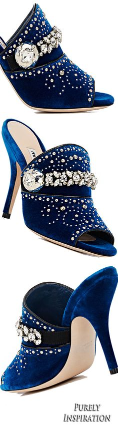 Miu Miu Crystal- & Stud-Embellished Velvet Mules | Purely Inspiration Wedge Boots, Shoe Boots, Mode Glamour, Denim Shoes, Shoe Art, Blue And Silver, Dark Blue, Luxury Shoes, Blue Fashion