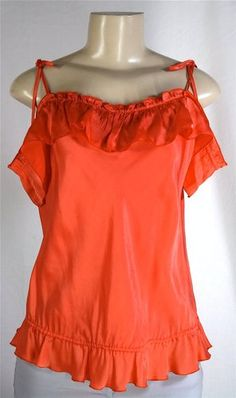 MOSCHINO Cheap And Chic Coral Top Blouse Off Shoulder Convrtbl Sz 44 US 10 M | eBay