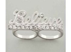Believe Me two finger ring  Right on trend this ring has lovely crystal studs for that one of a kind sparkle. This ring is perfect for a night out or to wear with a causal outfit.  Limited quantities available so preorder soon!