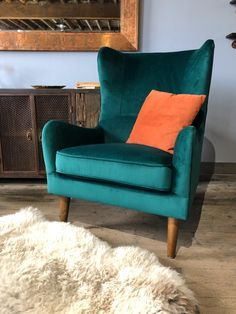 The Ava Green Velvet Wingback Chair - Accent Chair Green Accent Chair, Accent Chairs, Velvet Accent Chair, Velvet Wingback Chair, Green Armchair, Beautiful Sofas, Living Room Chairs, Dining Rooms, Pink Sofa