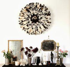 Wild white-black juju hat b - copie African Hats, Juju Hat, Feather Wall Art, Black Interior Design, Deco Boheme, Tribal Decor, Baskets On Wall, New Wall, Decorating Your Home