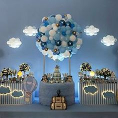 Magical way to decorate a party . Simple Birthday Decorations, Baby Shower Decorations For Boys, Balloon Decorations, Baby Shower Wall Decor, Baby Shower Themes, Shower Ideas, Teddy Bear Baby Shower, Baby Boy Shower, Baby Shower Balloons