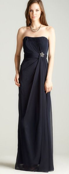 JS Collections Strapless Gathered Gown